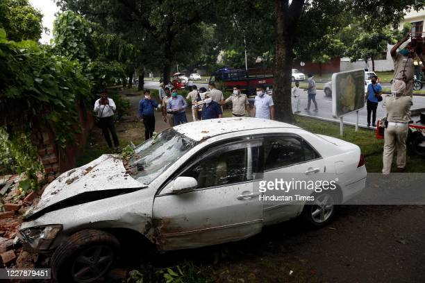 An over speeding car broke a boundary wall and crashed into a house in Sector 19, on August 1, 2020 in Chandigarh, India.