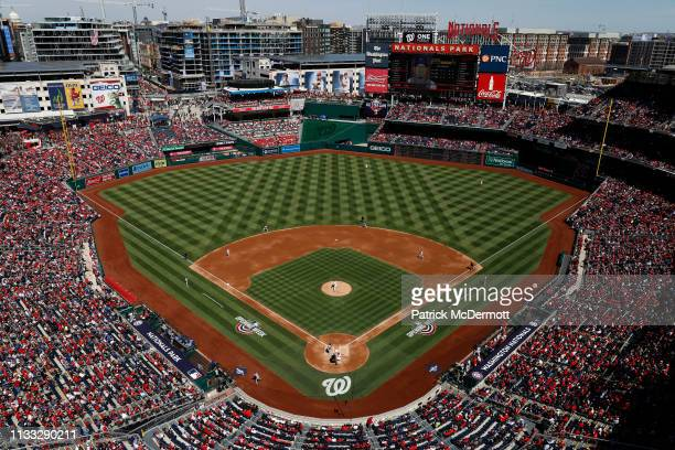 An overall as Max Scherzer of the Washington Nationals pitches in the second inning against the New York Mets on Opening Day at Nationals Park on...