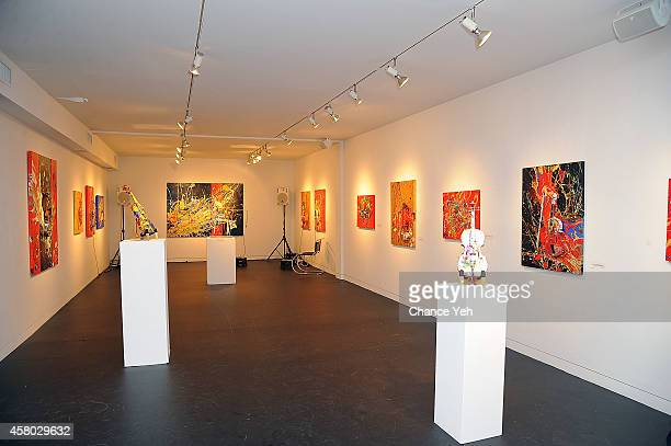 An overall atmosphere view of Aelita Andre Exhibit Opening Night at Gallery 151 on October 28, 2014 in New York City.