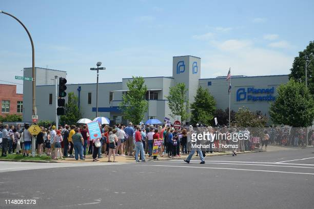 An overall during a prolife rally outside the Planned Parenthood Reproductive Health Center on June 4 2019 in St Louis Missouri The fate of...