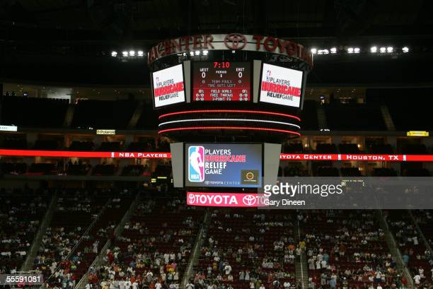 An overall general view of the scoreboard during Kenny Smith's Hurricane Katrina Relief NBA Charity Game on September 11 2005 at the Toyota Center in...