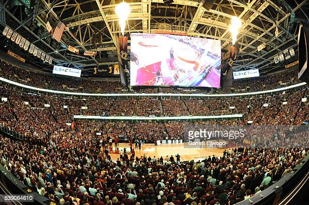 An overall of the arena during the 2016 NBA Finals Game Three on June 8 2016 at Quicken Loans Arena in Cleveland Ohio NOTE TO USER User expressly...