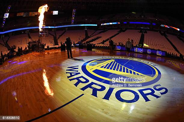 An overall of the Golden State Warriors logo during opening night between the Golden State Warriors and the San Antonio Spurs on October 25 2016 at...