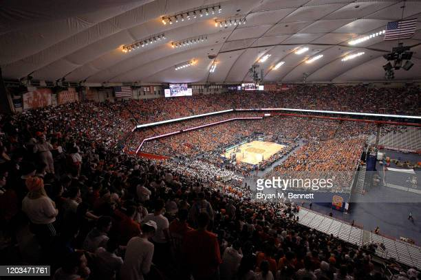 An overall shot of an NCAA basketball game between the Syracuse Orange and the Duke Blue Devils at the Carrier Dome on February 01 2020 in Syracuse...