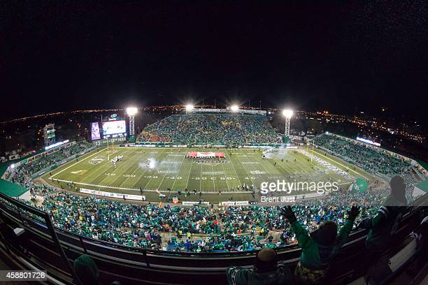 An overall shot of Mosaic Stadium just before the teams take the field for the game between the Edmonton Eskimos and Saskatchewan Roughriders in week...