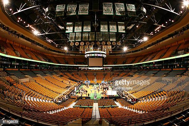 An overall view during media availability of the 2008 NBA Finals on June 4 2008 at the TD Banknorth Garden in Boston Massachusetts NOTE TO USER User...