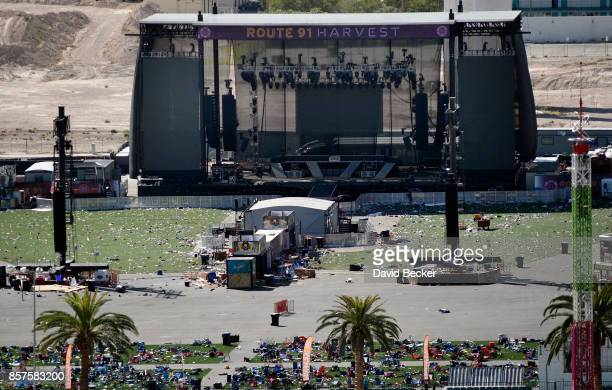 An overall view is seen of the Route 91 Harvest country music festival grounds on October 4 2017 in Las Vegas Nevada The annual music festival was...