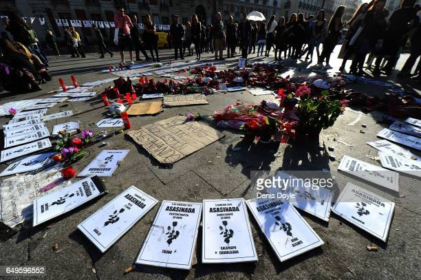 An overall view of a protest against domestic violence during International Women's Day on March 8 2017 in Madrid Spain An estimated 10 women have...