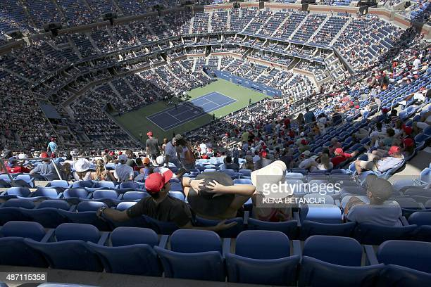 An overall view of Arthur Ashe Stadium as Marin Cilic of Croatia plays Jeremy Chardy of France during their 2015 US Open Men's Singles round 4 match...