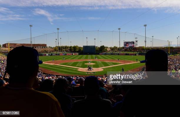 An overall view of fans watching the spring training game between the Cleveland Indians and Los Angeles Dodgers at Camelback Ranch on March 1 2018 in...