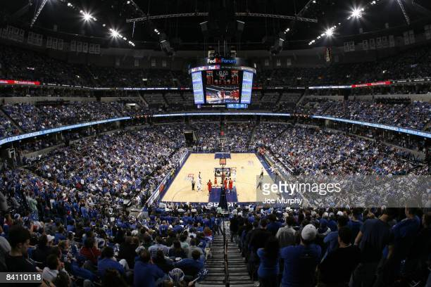 An overall view of FedexForum during a game between the Memphis Tigers and the Syracuse Orange at FedExForum on December 20 2008 in Memphis Tennessee...