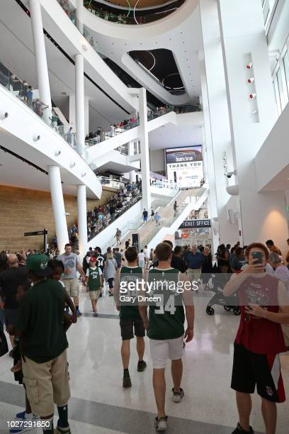 An overall view of Fiserv Forum during an open house and block party on August 26 2018 in Milwaukee Wisconsin NOTE TO USER User expressly...