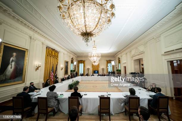 An overall view of President Joe Biden's first cabinet meeting in the East Room of the White House on April 1, 2021 in Washington, DC. This is the...