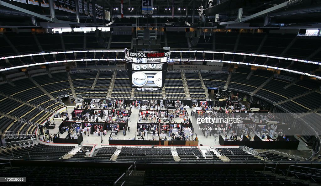 An overall view of some of the booths on the floor during 2013 NHL Exchange the annual NHL Licensed Products forum at the Consol Energy Center on July 30, 2013 in Pittsburgh, Pennsylvania.