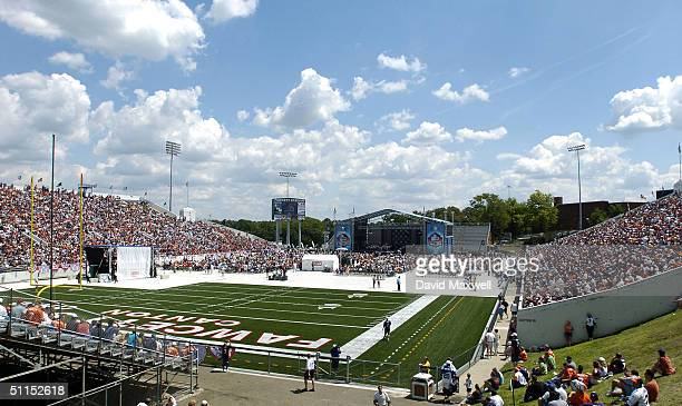 An overall view of the 2004 NFL Hall of Fame enshrinement ceremony on August 8, 2004 at Fawcett Stadium in Canton, Ohio.