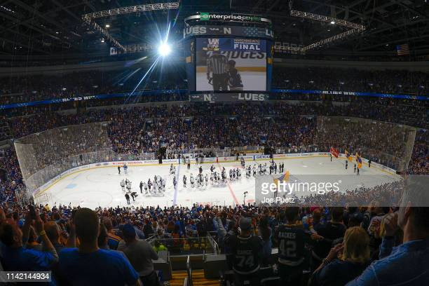 An overall view of the arena after the St. Louis Blues beat the Dallas Stars in double overtime in Game Seven of the Western Conference Second Round...