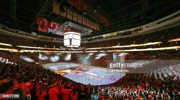 An overall view of the arena is shown prior to the start of this afternoon's game featuring the Philadelphia Flyers against the Pittsburgh Penguins...