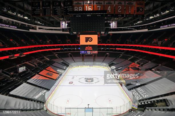 An overall view of the arena prior to an NHL game between the Philadelphia Flyers and the Buffalo Sabres at the Wells Fargo Center on January 19,...