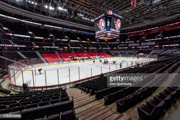An overall view of the Canadian Tire Centre during puck drop at the NHL game between the Ottawa Senators and the Toronto Maple Leafs on January 16,...