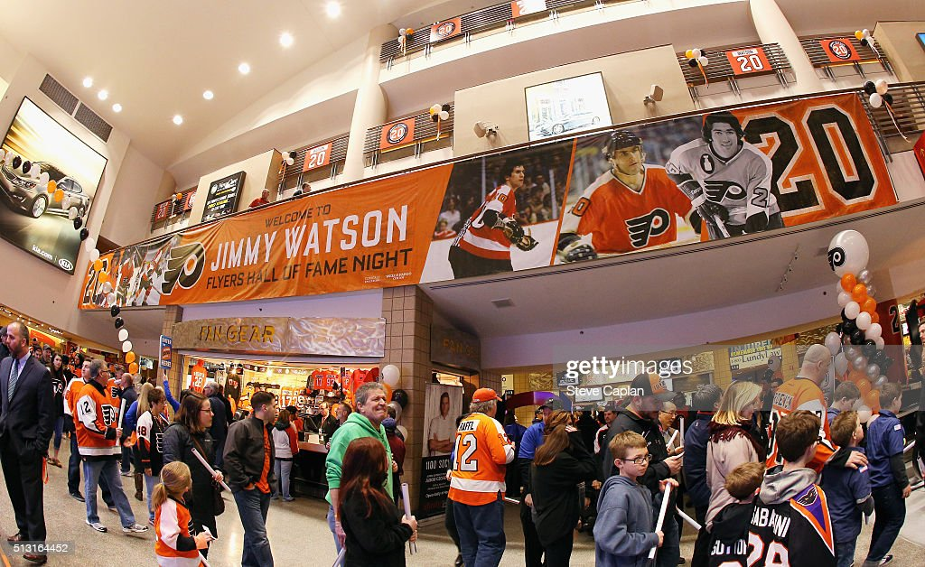 An overall view of the concourse prior to the pregame ceremony celebrating former Philadelphia Flyer Jim Watson's induction into the Philadelphia Flyers Hall of Fame on February 29, 2016 at the Wells Fargo Center in Philadelphia, Pennsylvania.