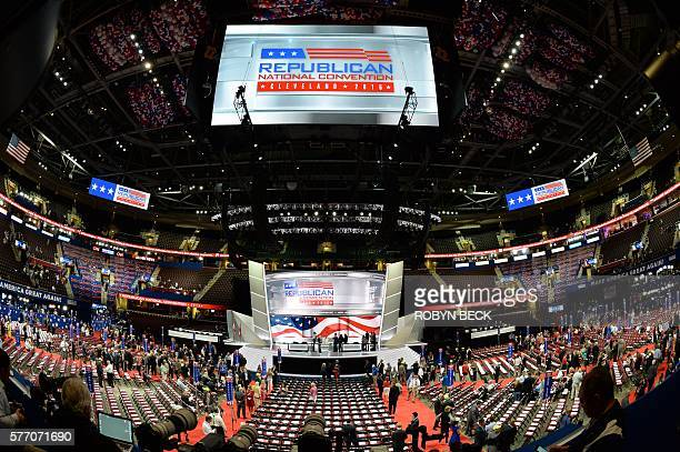 An overall view of the convention floor the before the opening of the Republican National Convention on July 18 2016 at the Quicken Loans Arena in...