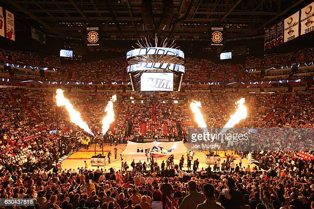 An overall view of the court before a game between the Los Angeles Lakers and the Miami Heat on December 22 2016 at American Airlines Arena in Miami...