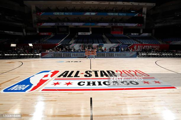 An overall view of the court during Rising Stars Media Availability and Practice as part of 2020 NBA AllStar Weekend on February 14 2020 at Wintrust...