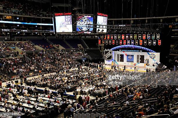 An overall view of the draft floor during the 2010 NHL Entry Draft at Staples Center on June 25 2010 in Los Angeles California