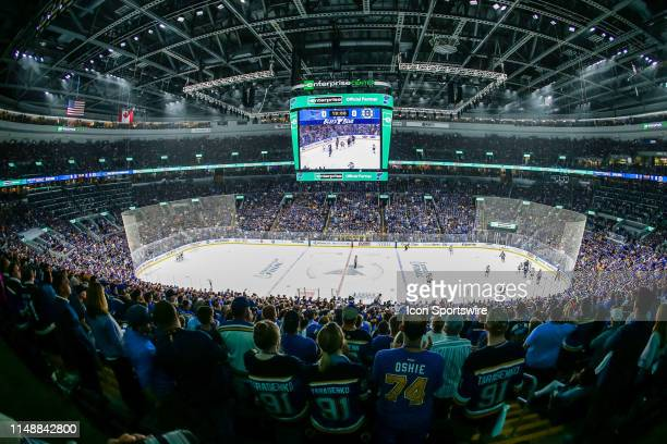 An overall view of the Enterprise Center during the first period of Game 6 of the NHL Stanley Cup Finals hockey game between the St. Louis Blues and...
