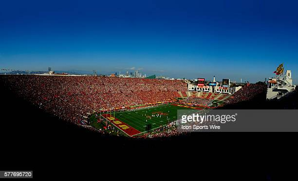 An overall view of the field and stadium with the Los Angeles skyline in the background during a college football game between the Stanford Trees and...