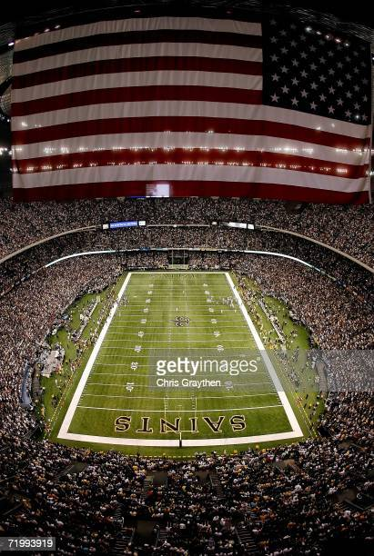 An overall view of the field is shown during pregame festivities prior to start of the Monday Night Football game between the Atlanta Falcons and the...