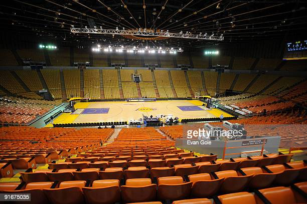 An overall view of The Forum prior to a preseason game between the Los Angeles Lakers and the Golden State Warriors at The Forum on October 9 2009 in...