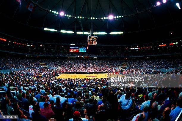 An overall view of the game between the Chicago Bulls and the Atlanta Hawks at the Georgia Dome on March 27, 1998 in Atlanta, Georgia. The Bulls won...
