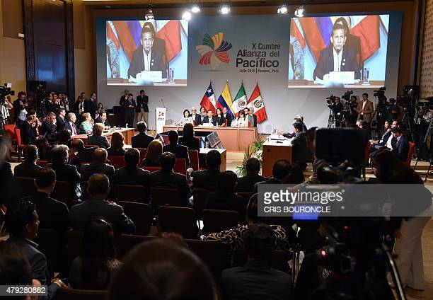 An overall view of the inauguration ceremony of the 10th Pacific Alliance Summit in Paracas 250 km south of Lima on July 2 with the attendance of...