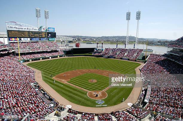 An overall view of the opening day game between the New York Mets and the Cincinnati Reds on April 4 2005 at Great American Ballpark in Cincinnati...
