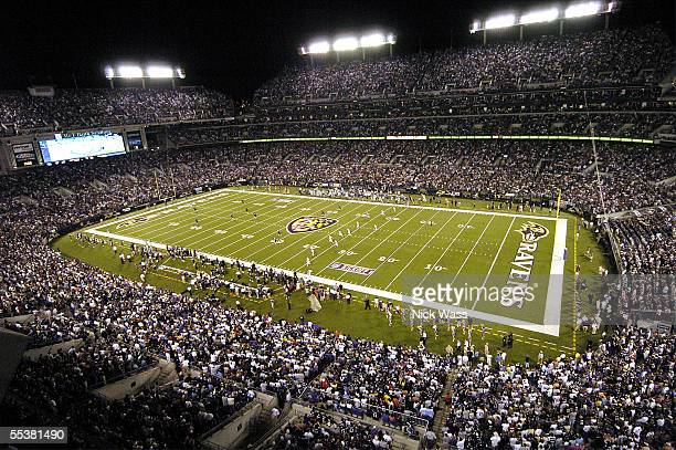 An overall view of the opening kickoff of a game between the Indianapolis Colts and the Baltimore Ravens at MT Bank Stadium on September 11 in...