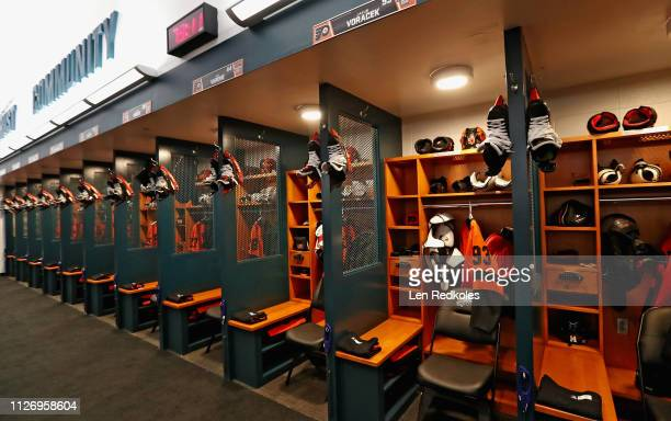 An overall view of the Philadelphia Flyers locker room is shown prior to their game against the Pittsburgh Penguins at the 2019 Coors Light NHL...