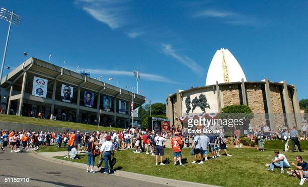 An overall view of the Pro Football Hall of Fame and Fawcett Stadium taken before the 2004 NFL Hall of Fame enshrinement ceremony on August 8 2004 in...