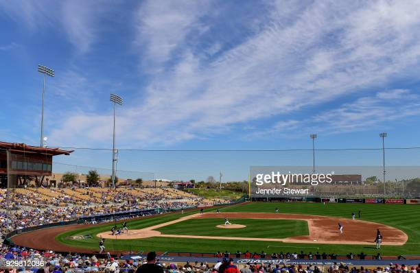 An overall view of the spring training game between the Cleveland Indians and Los Angeles Dodgers at Camelback Ranch on March 1 2018 in Glendale...