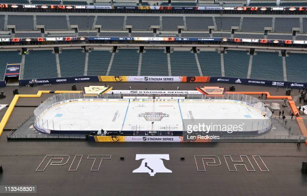 An overall view of the stadium is shown prior to the Philadelphia Flyers playing the Pittsburgh Penguins at the 2019 Coors Light NHL Stadium Series...
