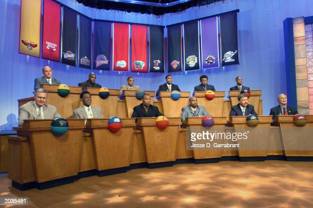 An overall view of the stage during the 2003 NBA draft lottery on May 22 2003 in Secaucus New Jersey NOTE TO USER User expressly acknowledges and...