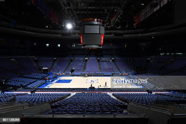 An overall view of Wells Fargo Center before the game between the Miami Heat and Philadelphia 76ers in Game Five of Round One of the 2018 NBA...