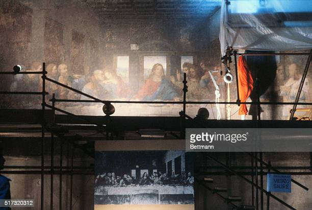 An overall view taken 12/16 of Leonardo Da Vinci's famous Last Supper in the church of Santa Maria delle Grazie showing scaffolding erected by...