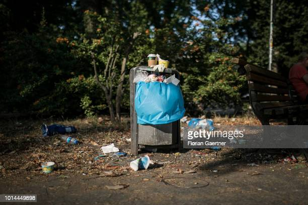 An overfilled bin is pictured on August 09 2018 in Berlin Germany