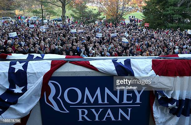 An overflow crowd waits to see Republican presidential candidate former Massachusetts Gov Mitt Romney speaks during a campaign rally at George Mason...