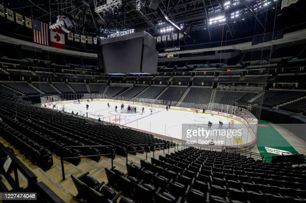 An overhead general view of the arena during a Colorado Avalanche training session at the Pepsi Center in Denver Colorado on July 15 2020