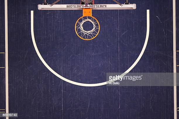 An overhead general view of the basketball court during a game between the New Jersey Nets and the San Antonio Spurs on February 10 2009 at The Izod...
