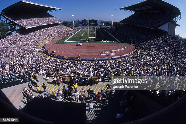An overhead shot of Husky Stadium where the Seattle Seahawks played against the New Orleans Saints in Seattle Washington on Septemtber 17 2001 The...