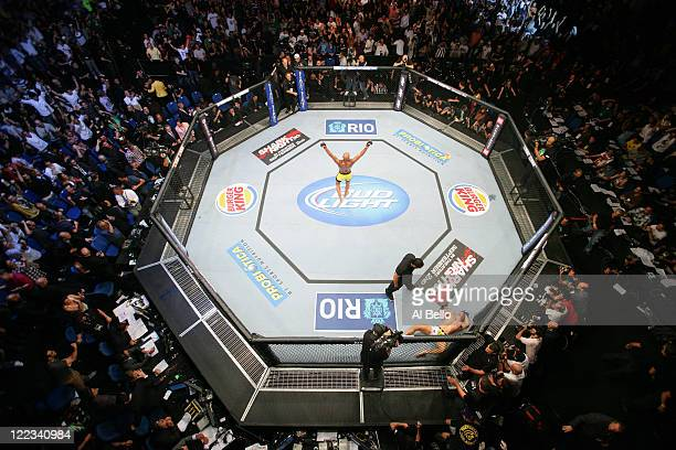 An overhead view as Anderson Silva celebrates after knocking out Yushin Okami in the UFC Middleweight Championship bout at UFC 134 at HSBC Arena on...