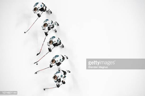 An overhead view as Brent Burns of the San Jose Sharks skates during warmups against the Los Angeles Kings at SAP Center on December 22 2018 in San...